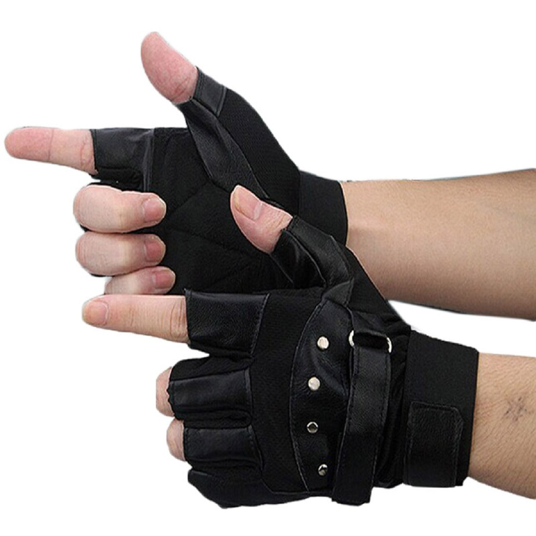 Shensee Boy Male Soft PU Leather Driving Motorcycle Biker Fingerless Warm Gloves by Shensee (Image #1)