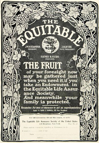 1903 Ad Equitable Life Insurance Banking Finance Art Nouveau 120 Broadway Nyc   Original Print Ad
