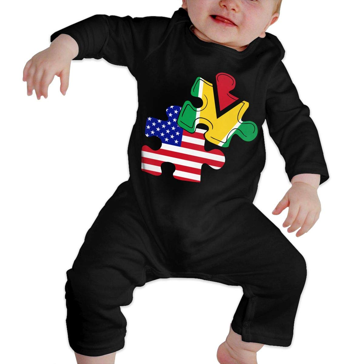 Mri-le1 Baby Girl Organic Coverall Guyana American Flag Puzzle Piece Baby Clothes