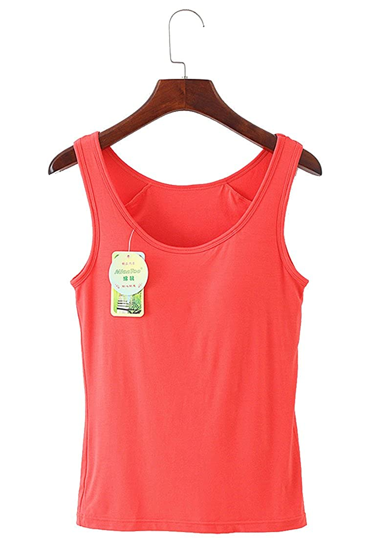 Rofala Women's Built-in Shelf Bra Modal Tank Tops Solid Color S-XL ROTK0008