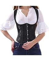 MUKA Gray Punk Vest Corset Top Bustier Waist Cincher Plus Size Lingerie