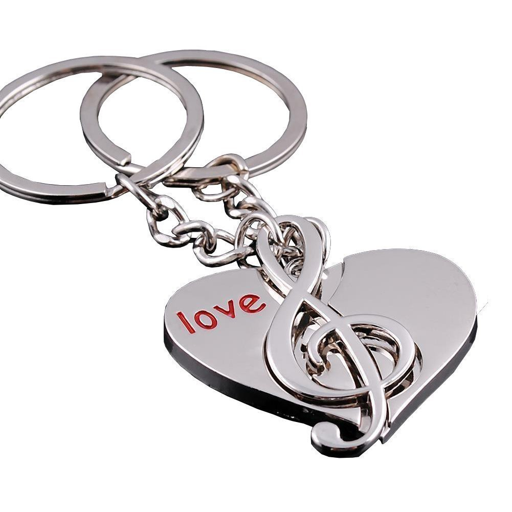 4EVER Love Heart Music Notes Symble Detachable Couple Keychain (With Gift Box and Greeting Card) Key Ring Key Chain (A Pair) DreamsEden KC015