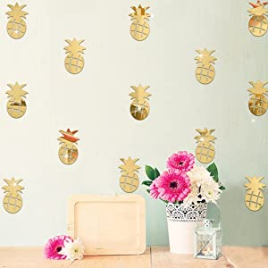 fublousRR5 Wall Sticker, 12Pcs/Set Cute Pineapple Mirror Acrylic Wall Stickers Decal Children Room Decor Golden