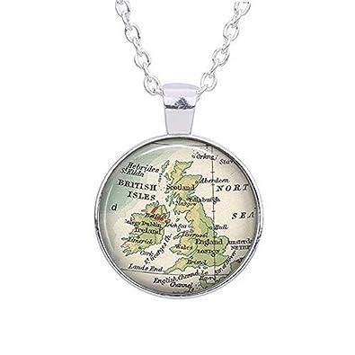 Amazon.com: British Isles map necklace, England map pendant ...