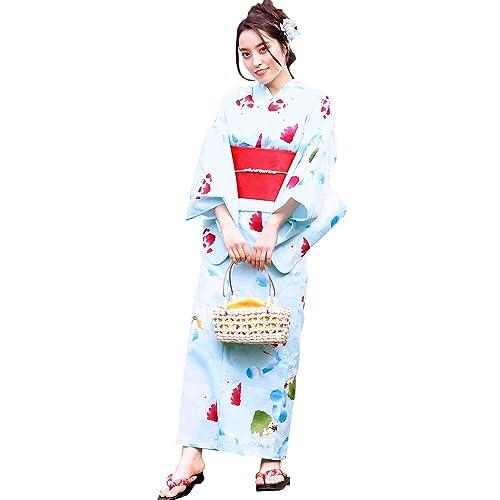 1917Nishiki(ニシキ)浴衣+作り帯2点セットレディース大人用選べる柄仕立て上がりフリーサイズ[かき氷/作り帯:紅]