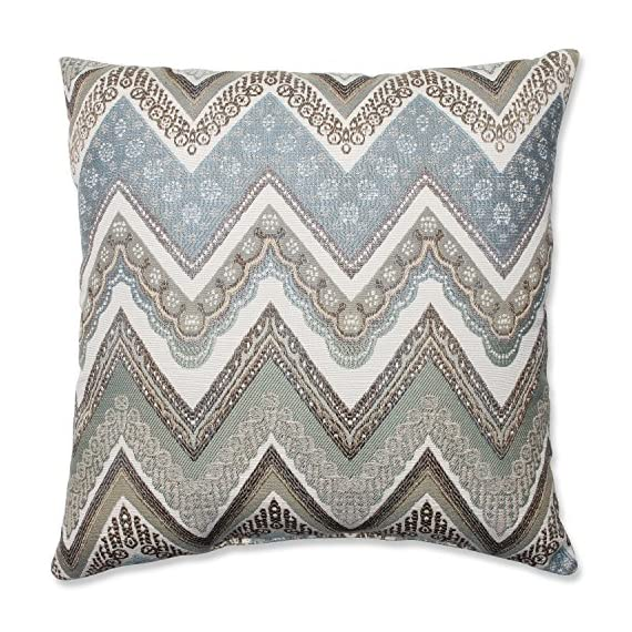Pillow Perfect Cottage Throw Pillow, 18-Inch, Mineral - Includes one (1) decorative throw pillow; suitable for indoor use Plush Fill - 100-percent polyester fiber filling Edges of decorative pillow are knife edge - living-room-soft-furnishings, living-room, decorative-pillows - 619xO87YiNL. SS570  -