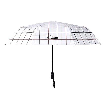 Ysry Plaid Paraguas Automático Sunny Rain Umbrella Hombres Paraguas Plegable Refuerzo Negro Que Cubre El Paraguas