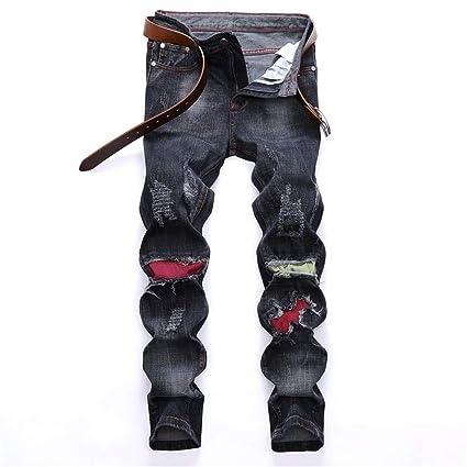 Chlyuan Jeans de Hombre Pantalones Vaqueros Slim Biker Moto ...