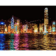 "CaptainCrafts New Paint by Numbers 16x20 "" for Adults, Kids LINEN Canvas - Hong Kong Night, Seaside City (Frameless)"
