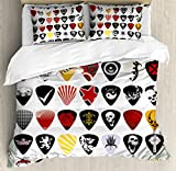 Rock Music Duvet Cover Set King Size by Ambesonne, Guitar Picks Various Designs Skulls Crosses Stripes and Stars Rockstar Lifestyle, Decorative 3 Piece Bedding Set with 2 Pillow Shams, Multicolor