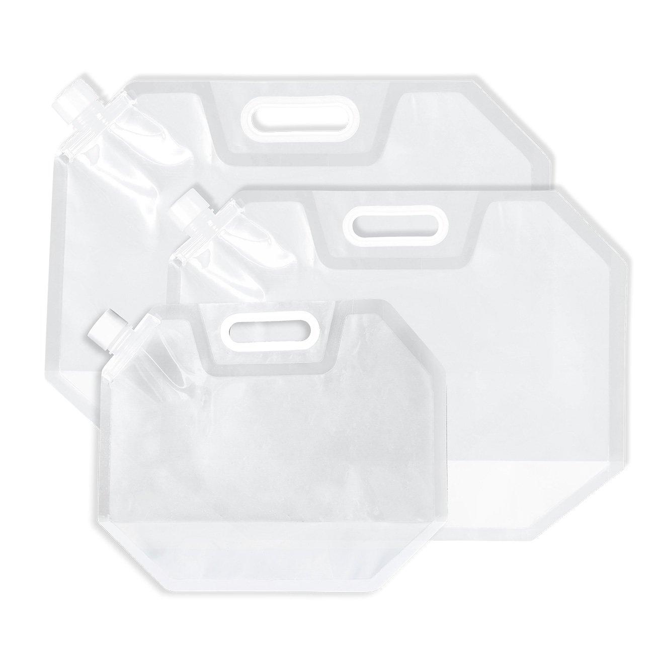 100%安い Juvale 折りたたみ可能な水容器 3パック – 3パック 折りたたみ式プラスチックウォーターバッグキャリア、BPAフリー、ポータブル水ストレージタンク B075RZ5JXY キャンピング –、アウトドア、ハイキング、旅行用 – クリア – 0.7、1.3、2.1ガロン B075RZ5JXY, ハニークローゼット Honey-closet:17da35b9 --- a0267596.xsph.ru