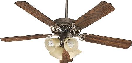 Quorum 77525-8165, Capri V Satin Nickel 52 Ceiling Fan with Light