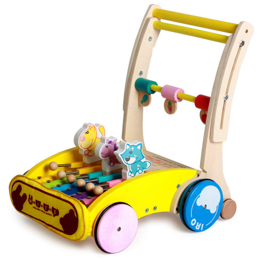 Meen Baby Walker, Early Education Wooden Children's Walker Cart Multi-Function Anti-Rollover Music Walker