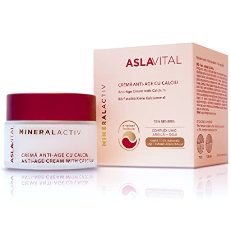 ASLAVITAL MINERALACTIV, Anti-Aging Cream With Calcium With Clay and Goji Berry Organic Extract