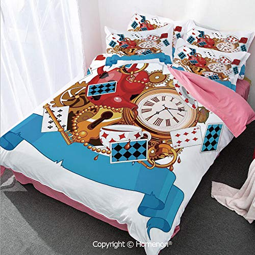 - Homenon Alice in Wonderland Girl's Room Cover Set Queen Size,Mad Design of Cards Clocks Tea Pots Keys Flowers Fantasy Wor,Decorative 3 Piece Bedding Set with 2 Pillow Shams Multi