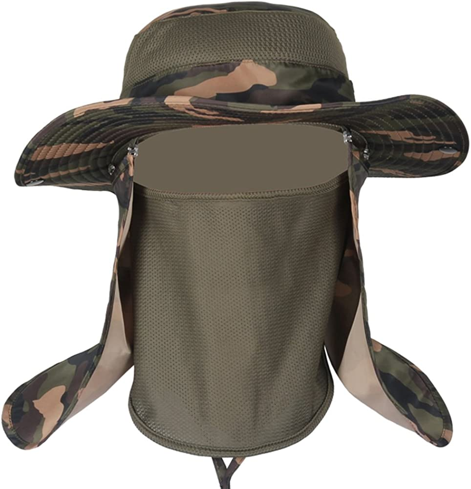 Fishing Hat for Men,Outdoor Sun Boonie Cap Breathable Wide Brim UV Protection