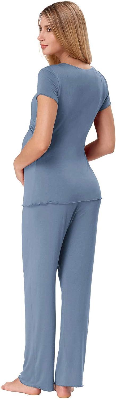 Zexxxy Schlafanz/üge f/ür Schwangere Damen Kurzarm Stillpyjamas Stillen Mutterschaft Pyjamas Set Sanft Nachtw/äsche Pjs Mit V-Ausschnitt