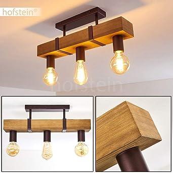 Deckenleuchte Deckenlampe braun E27 Holz dimmbar