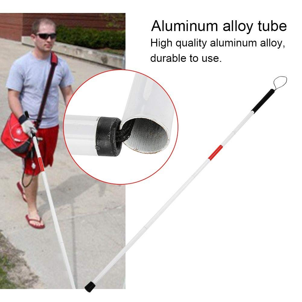 Folding Cane Folding Foldable Reflective Cane Crutch Portable Anti-Shock Guide Walking Stick for The Blind