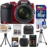 Nikon Coolpix B500 Wi-Fi Digital Camera (Red) 16GB Card + Case + Batteries & Charger + Tripod + Kit