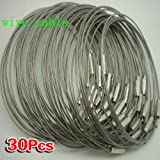 Sonline 30pcs Stainless Steel Screw Locking Wire Keychain Cable Key Rings Outdoor Accessory