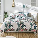 Girls Floral Twin Duvet Cover Set Cotton Tropical Flower Birds Print Kids Bedding Cover Set Reversible Children Comforter Cover Set for Teens Adults Vintage Luxury Summer Bedding Set, Style5
