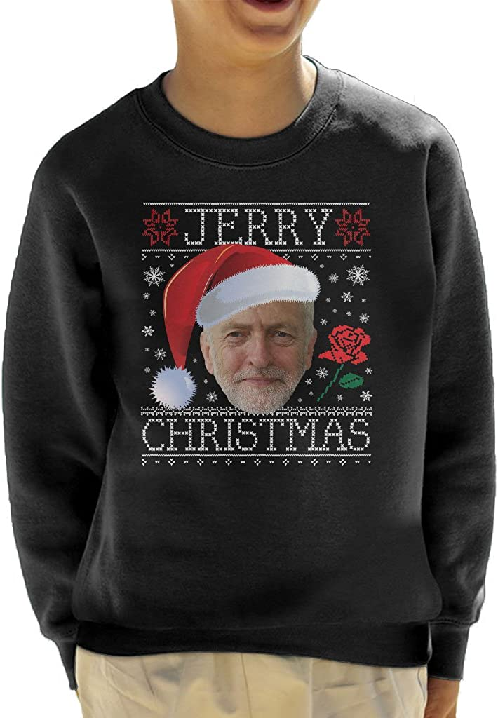 Jeremy Corbyn Santa Hat Jerry Christmas Knit Pattern Kids Sweatshirt