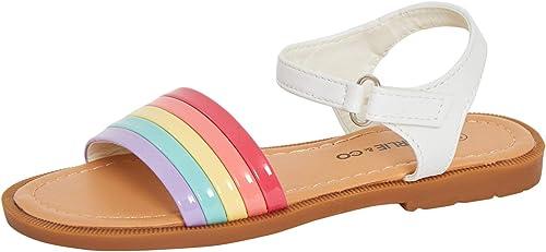 Girls Rainbow Sandals Kids Easy Fasten