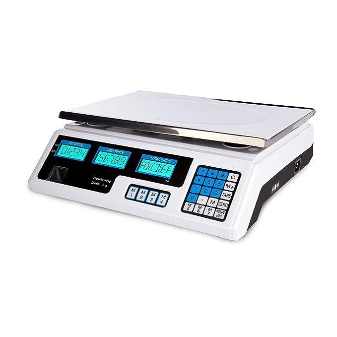 LScommerce® - Báscula electrónica profesional de base digital con pantalla doble (5 gr -40 kg): Amazon.es: Hogar