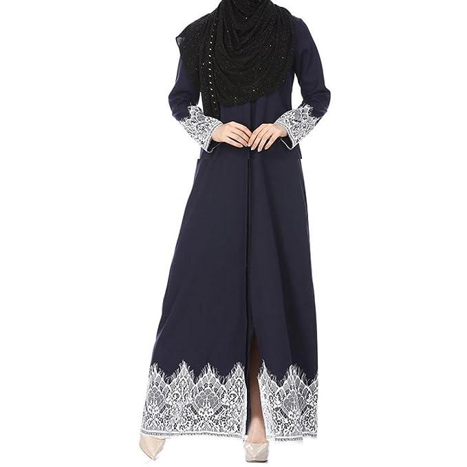 42119e72f10bbf Amazon.com  WILLTOO Womens Kimono Abaya Muslim Lace Casual Cardigan Kaftan  Robe Daily Blouse  Clothing