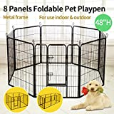 JAXPETY Black 48'' Pet Playpen Folding Dog Cage Kennel Crate Metal Enclosure Fence 8 Panel ¡