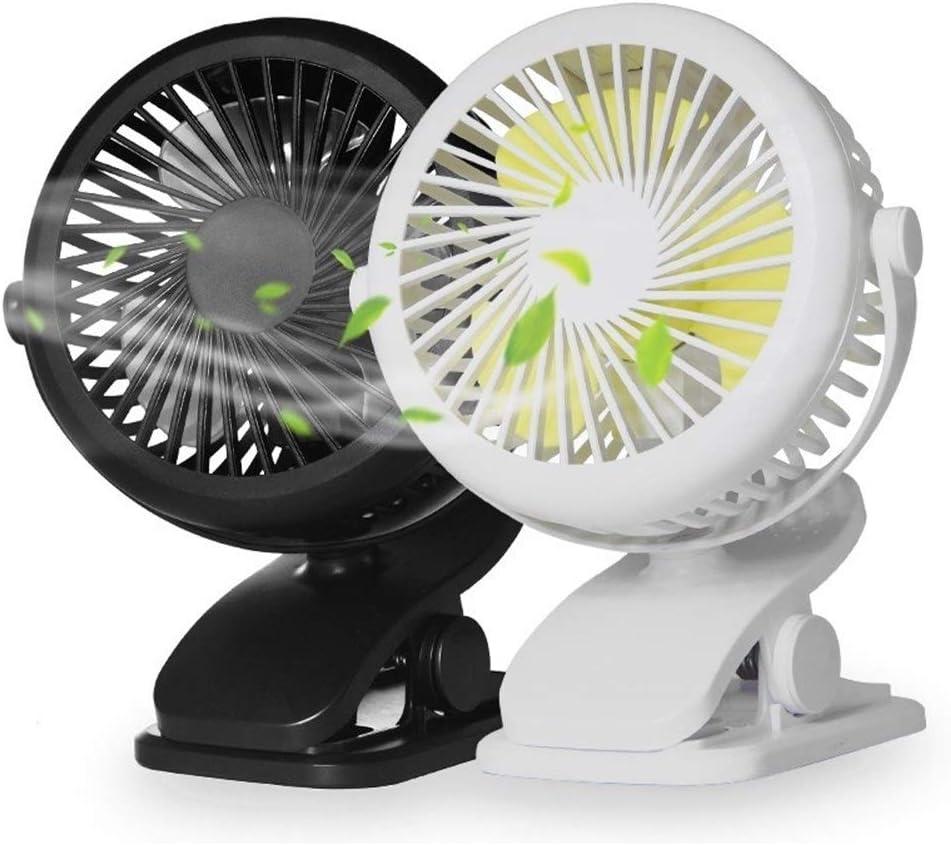 XIAOF-FEN Charging Clip Fan Bedside Baby Stroller Mini Fan Office Dormitory Desktop 3 Gear Wind Fan USB Fan Color : Pink