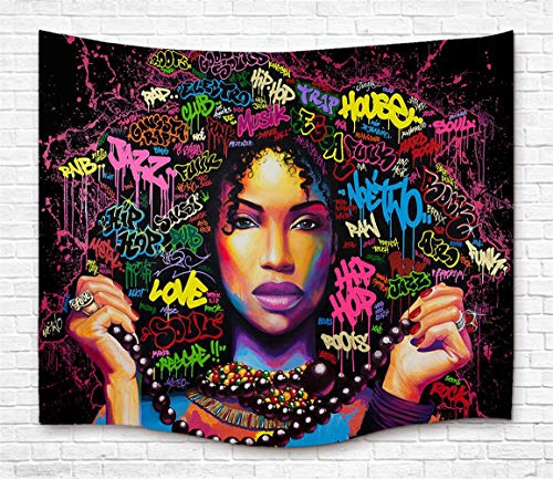 - TJFZARTCC Black Girl Tapestry African American Women Hair Art Wall Handing Tapestry for Home Decor Bedroom Dorm Room Living Room Light-Weight Polyester Fabric 50