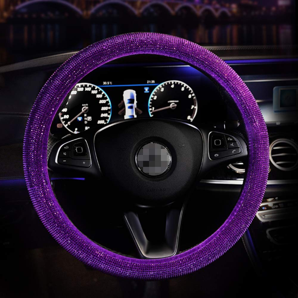 MLOVESIE Leather Steering Wheel Cover with Crystal Bling Bling Rhinestones for Girls,Lady Universal Fit 38cm Black-Crown