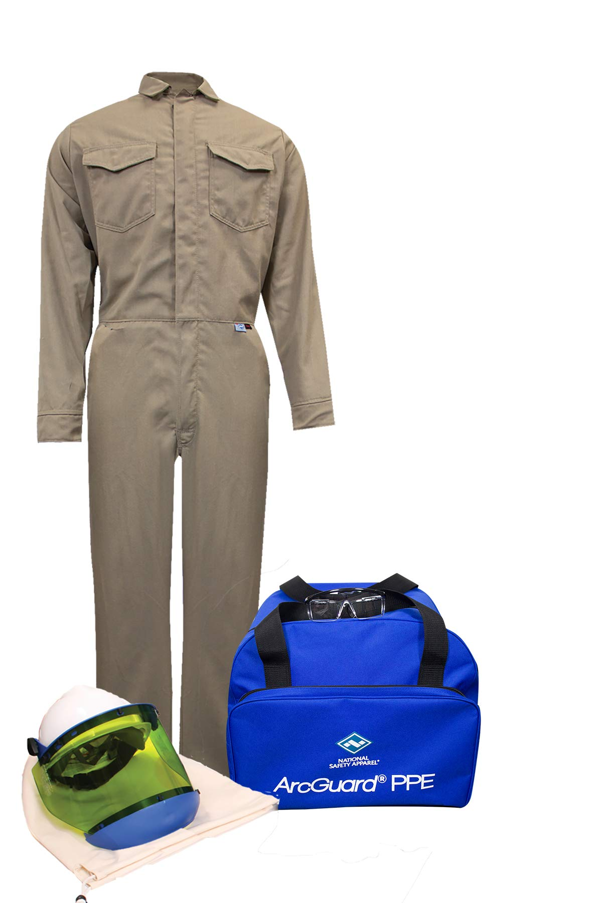 National Safety Apparel KIT2CVPR08NGLG ArcGuard DuPont Protera Arc Flash Kit with Coverall (No Gloves), 8.5 Calorie, Large, Khaki