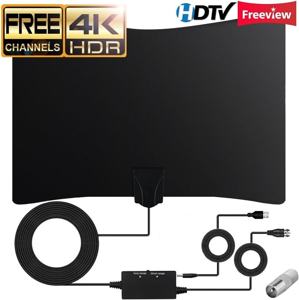 Antena TV Interior, Ultra Plana Amplificador Antena TDT con Cable Coaxial de 16.4 pies, Mayor Rango de Recepción de 80 KM, Antenas de Television Portatil para DVB-T TDT (Negro): Amazon.es: Electrónica