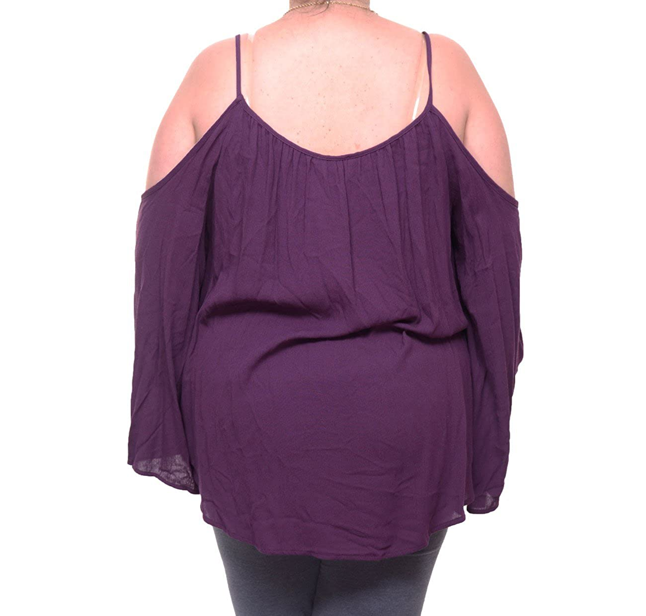 bda9cac5479f81 Chelsea Sky Womens Hi Low Cold Shoulder Blouse Purple S at Amazon Women s  Clothing store