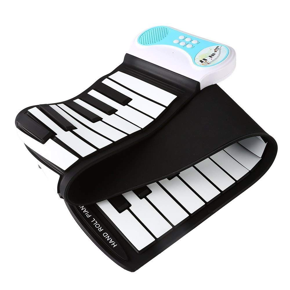 Electronic piano Educational Electronic Digital Music Piano Portable Kid's 49 Keys Flexible Roll-Up Keyboard With Recording Play Echo Sustain Feature 8 Tones 6 Demo Songs Build-in Speaker by Shenghua1979-MU
