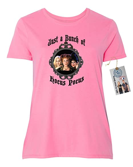 hocus pocus movie halloween shirt plus size womens short sleeve t shirt pink 1xl
