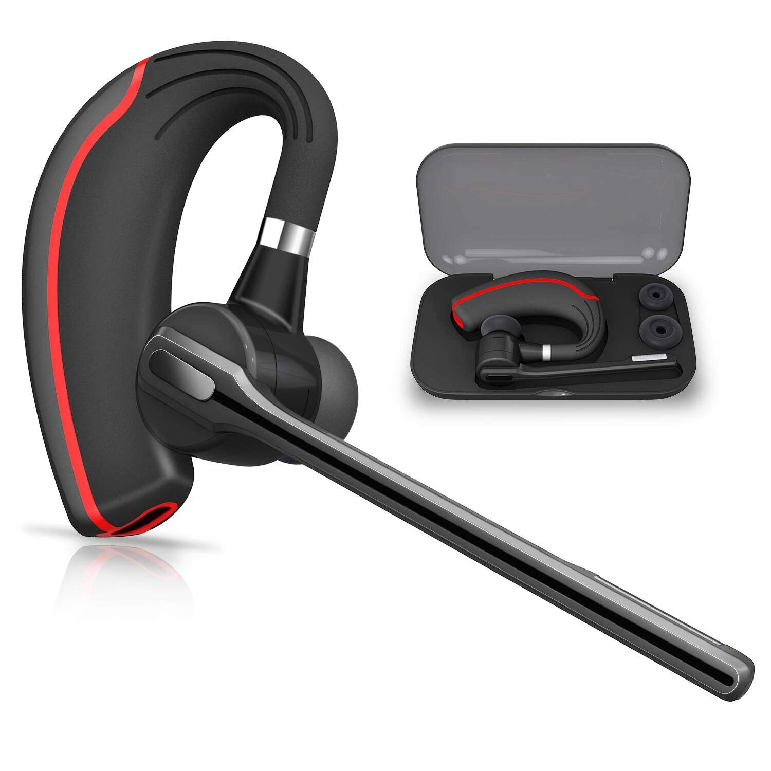 Bluetooth Headset HONSHOOP Bluetooth 4.1 in Ear Bluetooth Earpiece Wireless Headphones Noise Reduction Earphones with Mic for Business/Workout/Driving