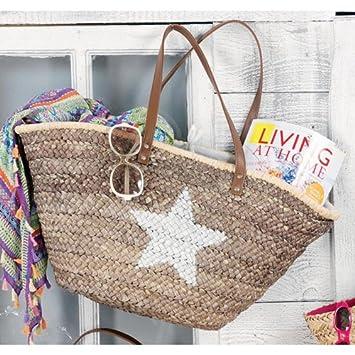 Alta calidad cesta rafia Bolsa para playa con estrella ...