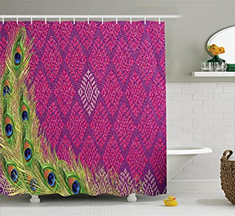 Ambesonne Peacock Decor Collection, Peacock Feather Vintage Style Geometric Background Flourish Contrasting Colors Image, Polyester Fabric Bathroom Shower Curtain, 84 Inches Extra Long, Magenta (Magenta Green)