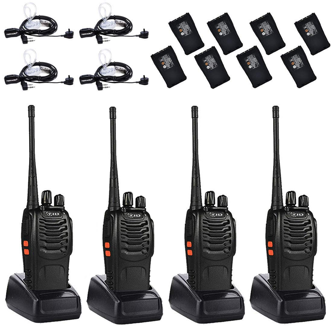 2Way Radios UHF Radio Rechargeable Two Way Radio FRS VOX Long Range Walkie Talkies for Adults with Air Acoustic Earpiece 4 Pack