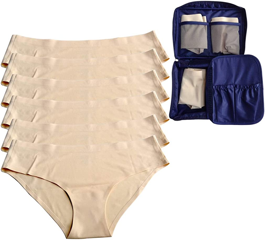 Low Rise Underwear Bikini Panty No Line Seamless Spandex Women Panties 6 Pack