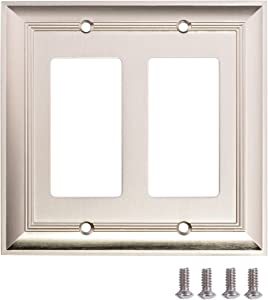 AmazonBasics AB-6004 Double Gang Wall Plate, 2, Satin Nickel, 2 Pack