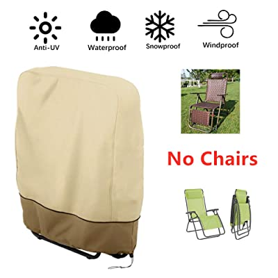 boyspringg Outdoor Folding Zero Gravity Chairs Cover Waterproof Lawn Patio Furniture Covers All Weather Resistant 93x82cm(Beige & Coffee): Kitchen & Dining