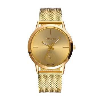 hevoiok moderna Relojes Hombre Mujer Malla Cinturón Reloj de pulsera nuevo espejo de vidrio con alta dureza Exquisit Unisex Reloj dorado: Amazon.es: Hogar