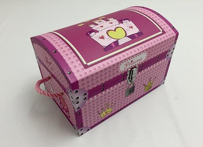 Diseño de princesas Disney para niñas Rosa el cofre del tesoro. Caja de almacenamiento para niños.: Amazon.es: Hogar