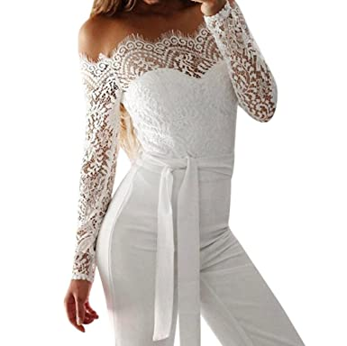 a3ee18c6c80 Amazon.com  Bravetoshop Women Sexy Lace Hollow Jumpsuit White Drawstring  Long Romper Solid  Clothing