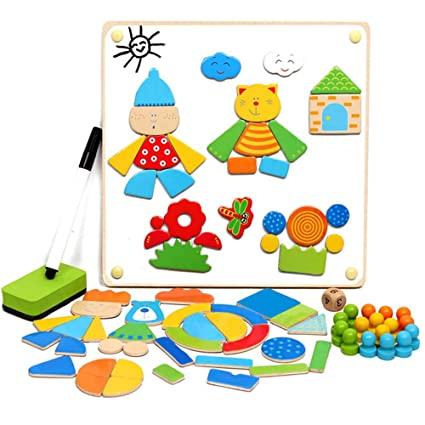 Great Toys Store Magnetic Pattern Blocks Wooden Puzzle Toys Double Sided Play with Flying Chess Magnetic Spelling Puzzle Board for Kids